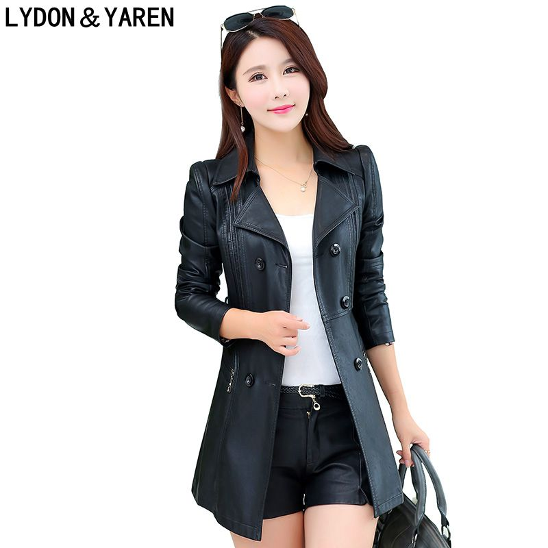 new women Korean coat fashion leather jacket long paragraph Slim , design suit jacket casual women leather coat belt