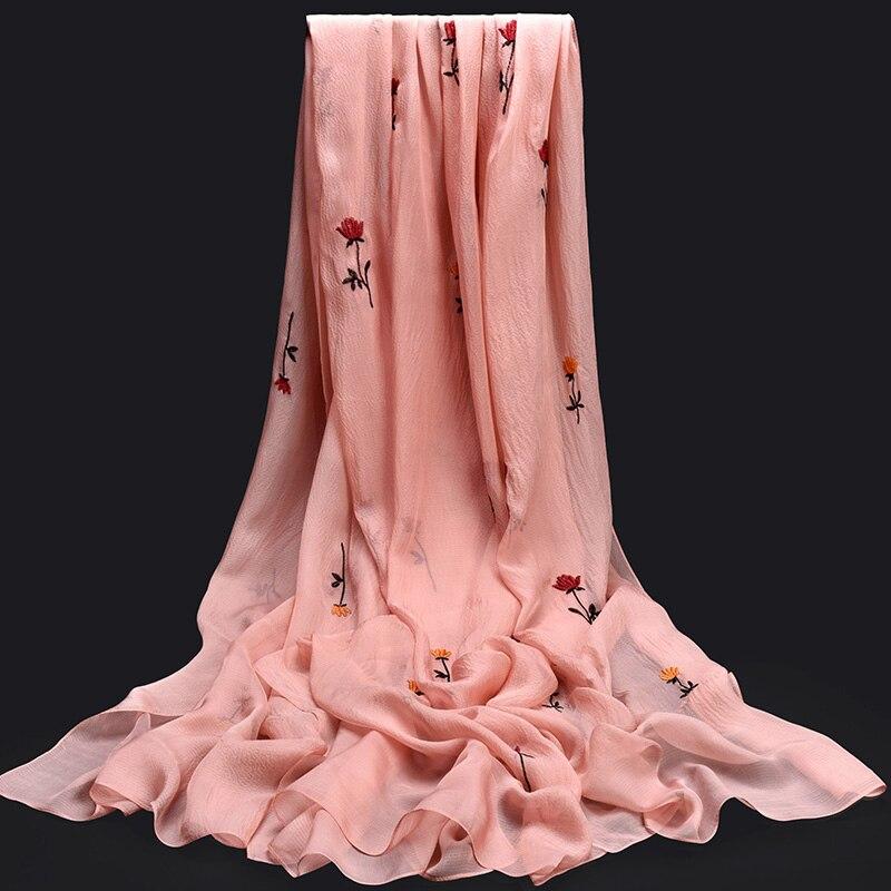 Femmes 100% Pure soie foulard marque de luxe 2019 châle et enveloppes pour dames solide imprimer Hangzhou soie Wrap naturel vraie soie foulards