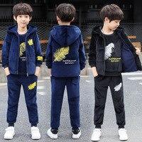 Комплект одежды для мальчиков От 3 до 11 лет 2018 зимняя теплая детская одежда комплект рубашка с длинными рукавами + брюки + жилет куртки Jongens