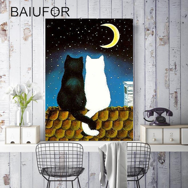 BAIUFOR Full diamond embroidery cat, painting of diamond mosaic pictures of rhinestones & crystals cross-stitch kits lover gift