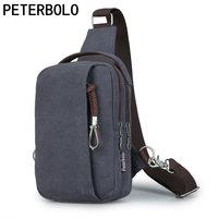 PETERBOLO High Quality Canvas Men Shoulder Bag Retro Single Strap Bag Large Capacity Travel Bag Waist