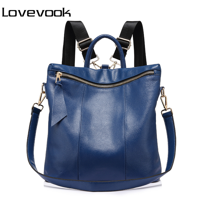 957a7ed3234 LOVEVOOK brand genuine leather women backpack large travel backpack school  backpack for girls shoulder crossbody bags lady 2018