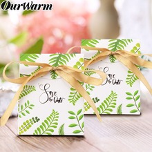 Ourwarm 50pcs Square Green Leaves Paper Candy Bag Box Kids Baby Gift Shower Party Favors DIY Wedding Birthday Decorations