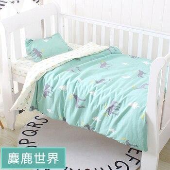 With filling! Cute Elk Newborn Toddler Bedding baby girl bedding set customize cotton newborn kit de berço,Duvet/Sheet/Pillow,