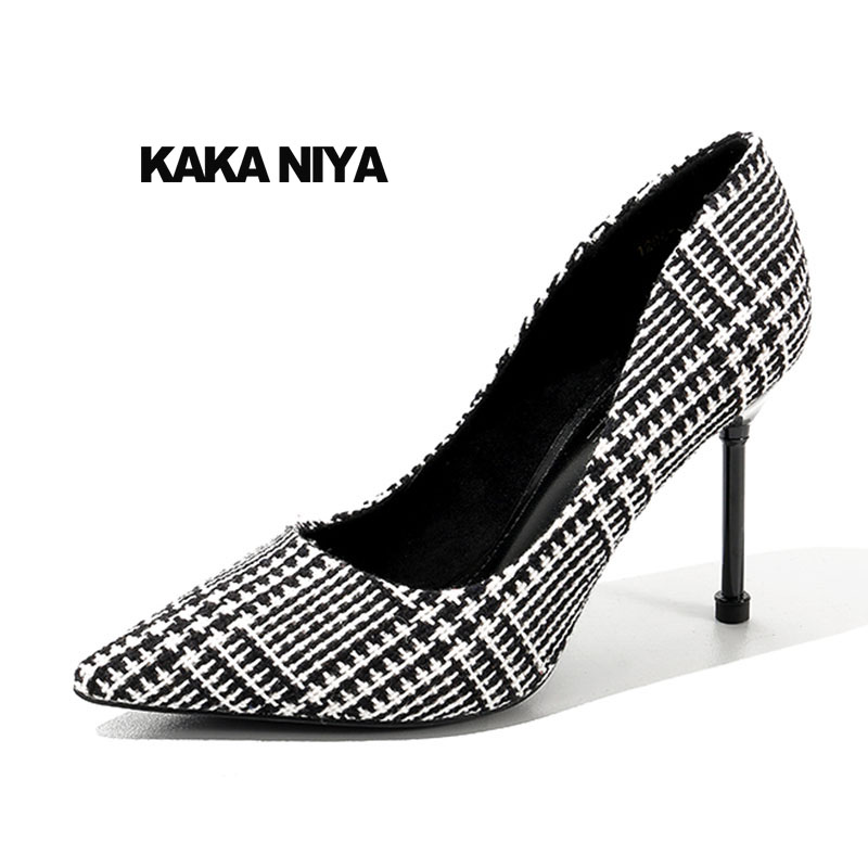 2018 Size 4 34 Top Quality Pumps Luxury High Heels Stiletto Brand Women Shoes Pointed Toe Celebrity Designer Gingham Plaid цена 2017