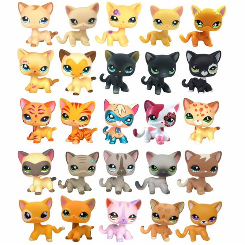New Rare Lps Pet Shop Toys Free Shipping Shorthair Cat Cute Tiger Cat Lps Action Classic Gifts Children's Gifts