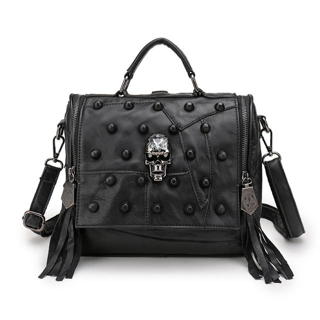 GENUINE COW LEATHER SKULL BACKPACK