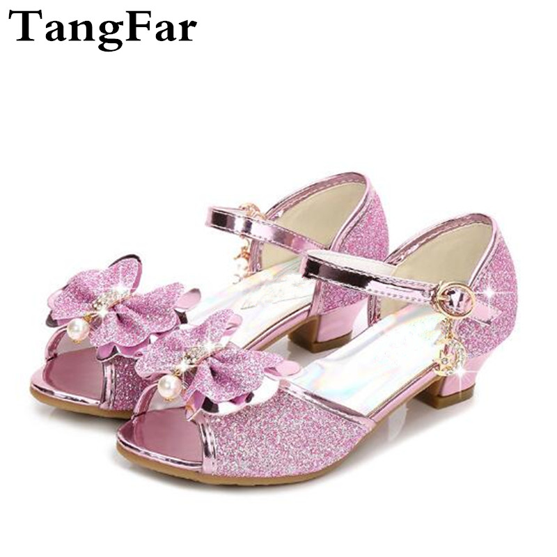 Kids Girls Glitter Sequins Bowknot Close Toe High Heels Princess Dress Shoes