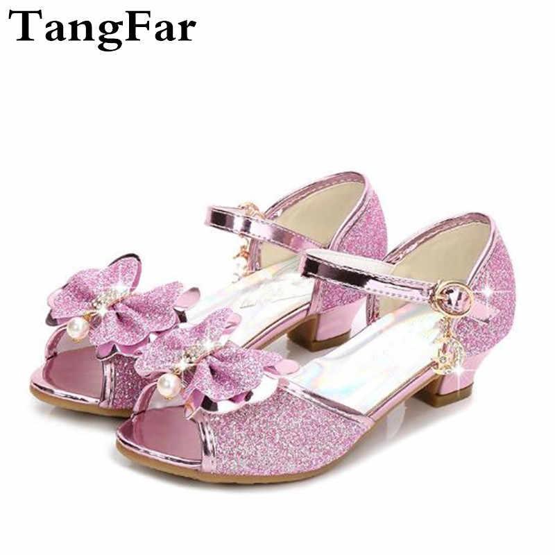 Princess Girls Dress Sandals High Heel Glitter Summer Wedding Sandal For  Children Fish Mouth Bowknot Rhinestone 273579b17d71