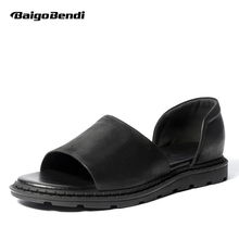 2019 New Summer Men Sandals High-end REAL Leather Man Gladiator Casual Slip On Rome Beach Shoes