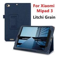 Mipad3 Litchi Grano de Cuero de LA PU Caso de la Cubierta Del Tirón Para Xiaomi Mipad 3 Mi pad 3 tablet caso del soporte de la cubierta shell Protector skins
