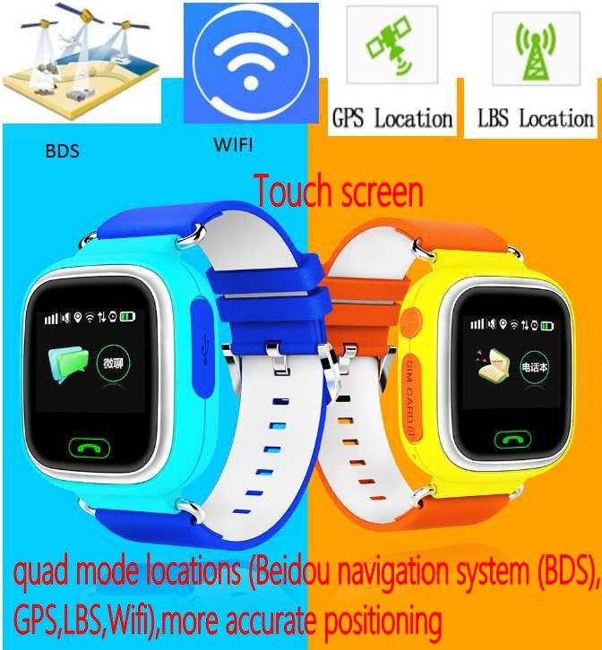 """Prix pour 2016 Kids Safe Q90 GPS de suivi Montres écran tactile 1.22 """"montre-bracelet G72 SOS Appel Finder Locator Tracker pour Enfant Anti Perdu"""