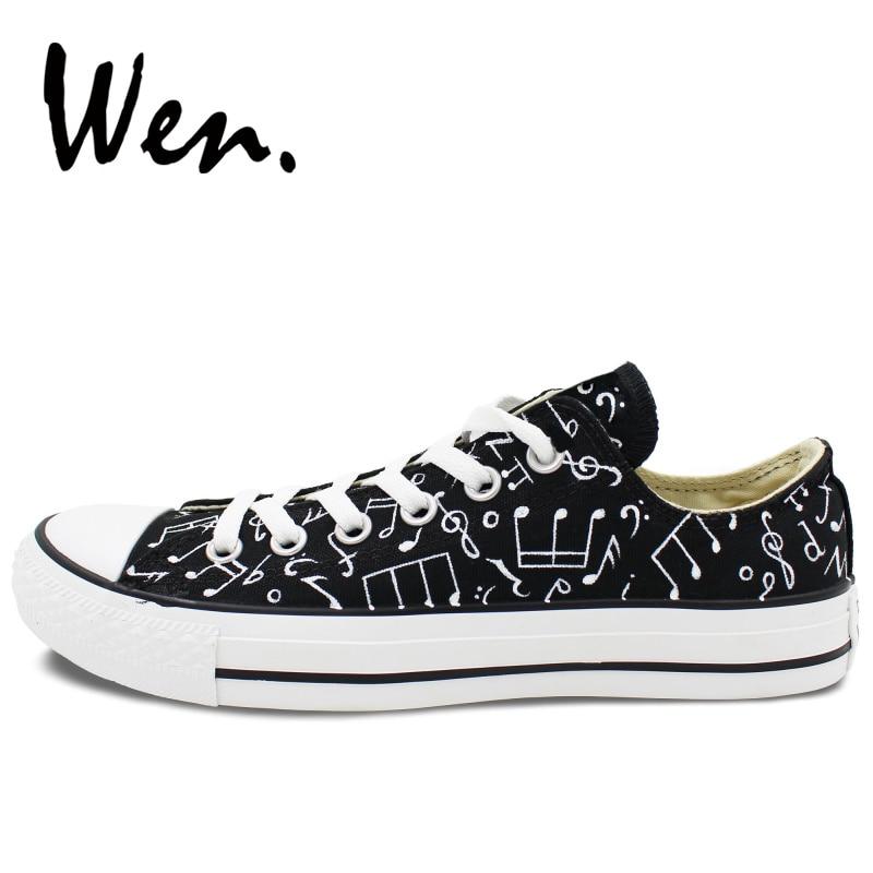 웬 원래 손으로 그린 캐주얼 신발 디자인 음악 노트 사용자 지정 낮은 상위 캔버스 스 니 커 즈 남자 여자 플랫폼 플랫 plimsolls-에서남성용 경화 신발부터 신발 의  그룹 3