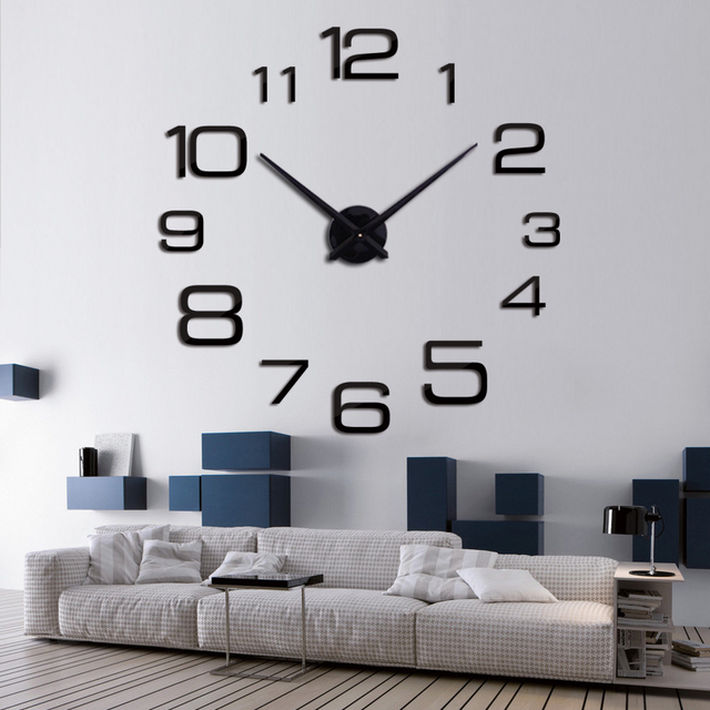 2017 new acrylic wall clock quartz watch living room modern 3d mirror stickers reloj pared horloge large decorative clocks