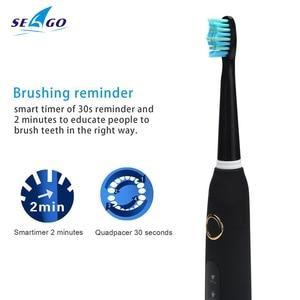 Image 3 - 新seago音波電動歯ブラシSG 507大人タイマーブラシusb充電器充電式歯ブラシ/交換ブラシヘッド/ボックス