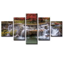 Top Wall Deocr Canvas Painting 5 Pcs Beautiful waterfall scenery Modern Printed Oil Pictures Beauty In Home Living Room