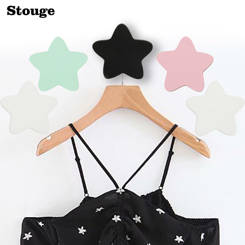 Stouge 1PC INS Hot Sale Clothes Towel Wall Hook Kids Room Decoration Hanging Hooks Wooden Star Clothes Rack Clothing Hanger Hook