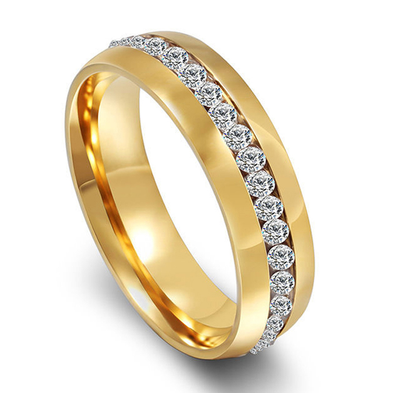 handmade gold color stainless steel womens wedding band promise ringanillo with cz diamonds eternity - Wedding Ring Price