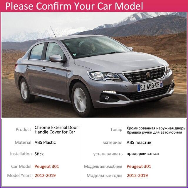 Voor Peugeot 301 2012 ~ 2019 Chrome Exterieur Deurgreep Cover Auto Accessoires Stickers Trim Set 2013 2014 2015 2016 2017 2018