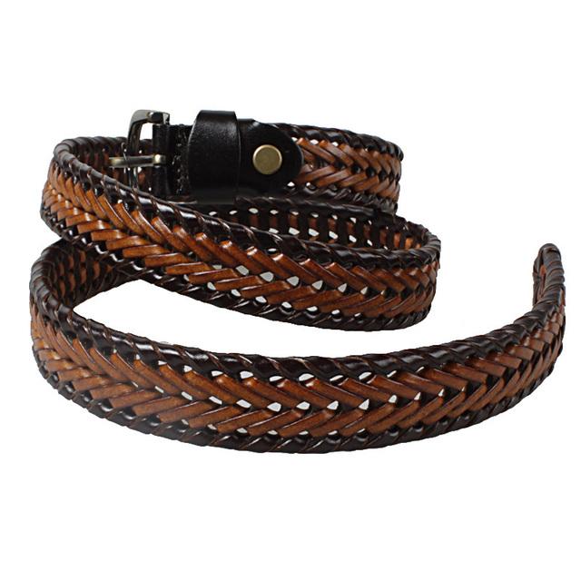 2015 mujeres WeavingNew diseño cinturones de cuero hebilla de una sola aguja Vouge tiempo genuino tejida correa hechos a mano correas de cuero del cowskin