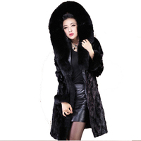 Plus 6XL women thicken hooded fur coat 2019 winter thicken fur coat elegant fashion Slim large size women black fur Overcoat