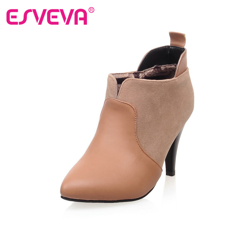 ФОТО ESVEVAWinter thin high-heels fashion boots slip-on pointed toe mixed color soft leather ankle boots black beige  female shoes