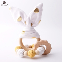 Laten we 2 pc/1 lot Baby Bijtring Bunny Ear DIY Tandjes Houten Armbanden Gemaakt Beuken Dieren Douche gift Play Gym Speelgoed Baby Rammelaar 2
