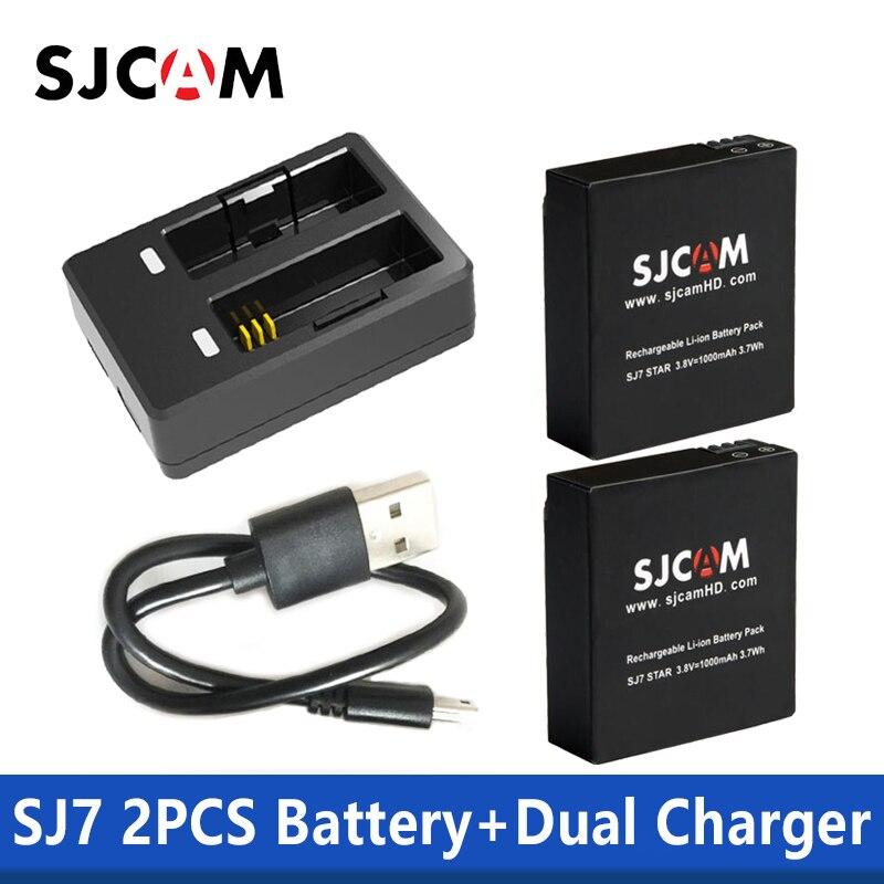 100% Original SJCAM SJ7 Star Dual Charger + 2pcs SJCAM Batteries 1000mAh Rechargeable Li-ion Battery For SJCam SJ7 Action Camera