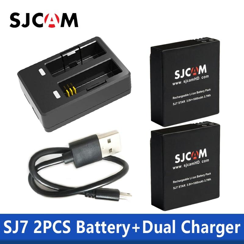 2 Stücke Sjcam Batterien 1000 Mah Lithium-ionen-akku Für Sjcam Sj7 Action Kamera Fortgeschrittene Technologie üBernehmen Unterhaltungselektronik 100% Original Sjcam Sj7 Stern Dual Ladegerät