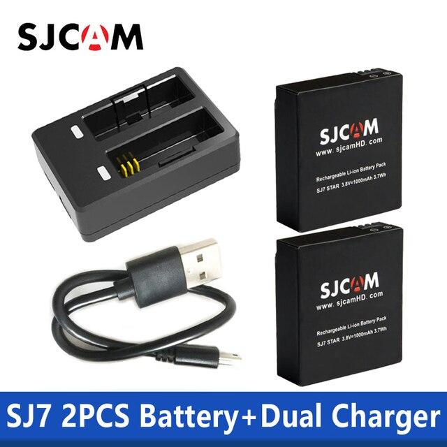 100% pcs SJCAM Original SJCAM SJ7 Estrela Carregador Duplo + 2 Baterias 1000 mAh Recarregável Li-ion Battery para SJCam SJ7 câmera de ação