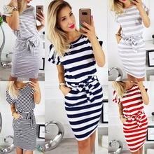 Hot Sale Women Stripe Frock Dress Summer Elegant Short Sleeve Cotton Slim Ladies Beach Dresses