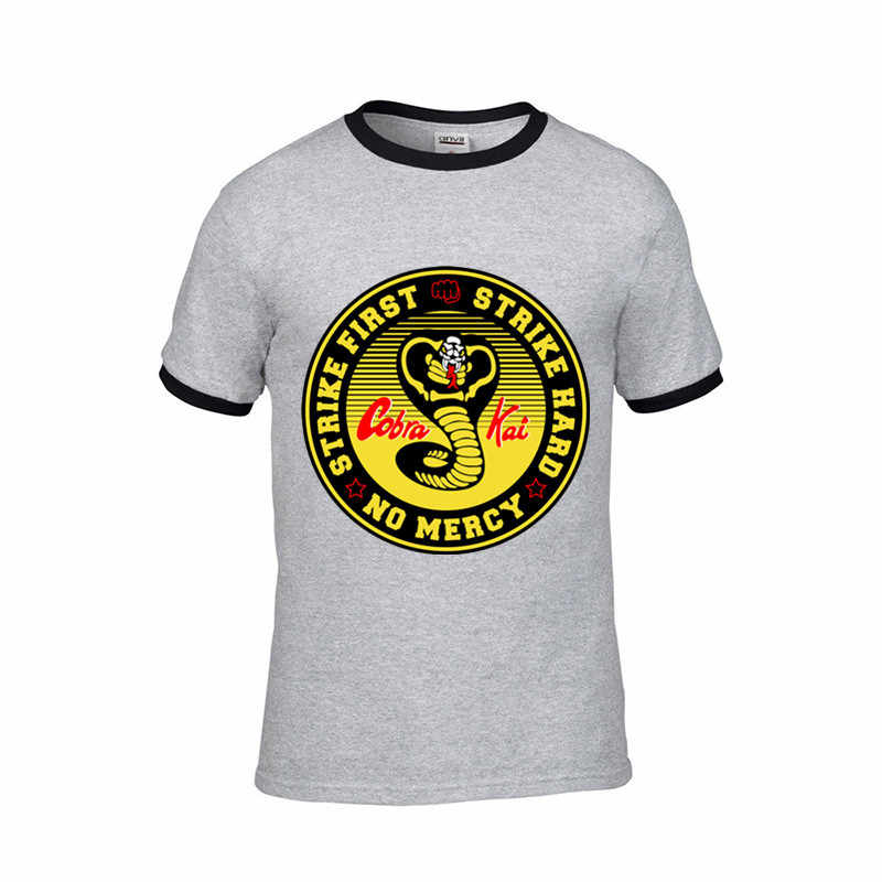 a4103177d ... Vestido Vintage verano 2018 Cobra Kai T shirt Men Karate T-shirt Cool  black mamba
