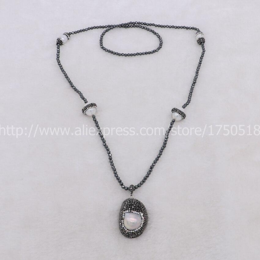 Naturel livraison forme perle perles pave strass avec 4 perle perles 27  naturel hématite collier Gems bijoux pour femmes 550 8a3ac0cc604
