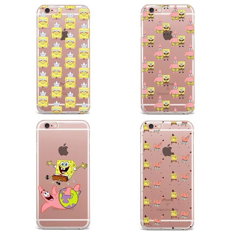 Best Friend SpongeBob Patrick Phone Cases For iPhone 7 7Plus 6 6S Plus 5 5S SE transparent Silicone Protective Cover Coque Capa