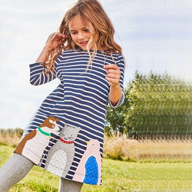 Прыжки метров платье для девочек детская одежда брендовая осеннее платье принцессы детская Туника аппликации животных платья для девочек детская одежда