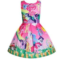 2018 New My Baby Summer Princess Little Pony Rainbow Dresses For Girls Halloween Birthday Party Vestidos Dress Children Clothing