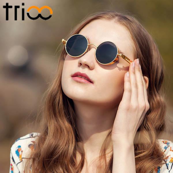 1934e9bddf placeholder TRIOO Polarized Sun Glasses For Men Driving Steampunk Style  Mens Sunglasses Retro Round Vintage Blue Mirror