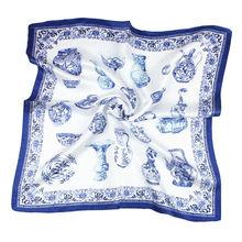 Фотография 100% REAL SILK women SCARF OL print 53x53cm Square kerchief Brand Summer Stewardess style SALE Free shipping