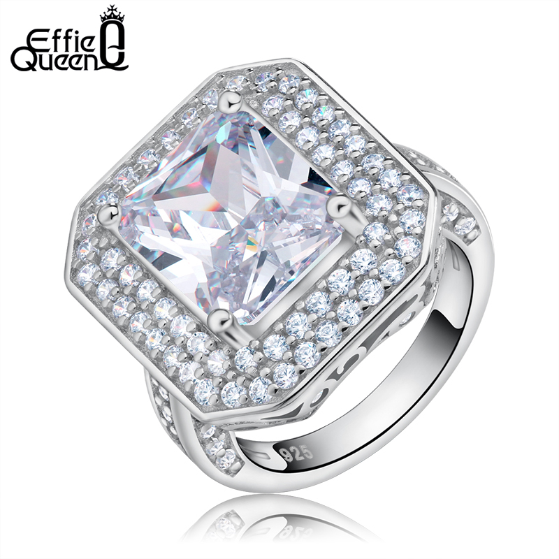 Effie Queen Luxury Wedding Stone Rings with Big Square Zircon Silver Color Ring Large Design Jewelry Women Finger Rings DR103