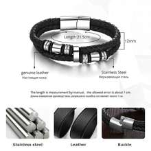 Stainless Steel Genuine Leather Men Bracelet