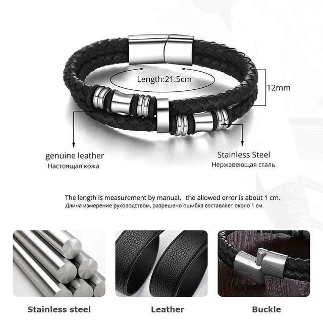 Stainless Steel Genuine Leather Men Bracelet
