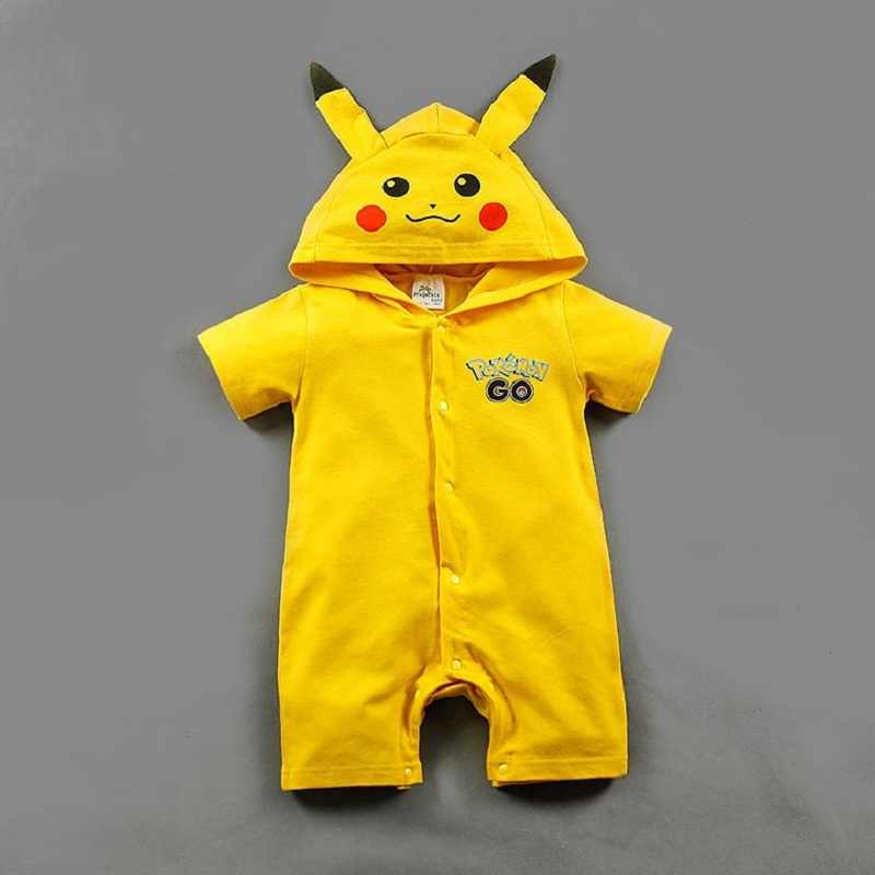 Newborn Baby Romper Pikachu Hoodie Pokemon Shirt Costume Baby Boy Girl  Clothes Summer Children Rompers Jumpsuit d385e358e