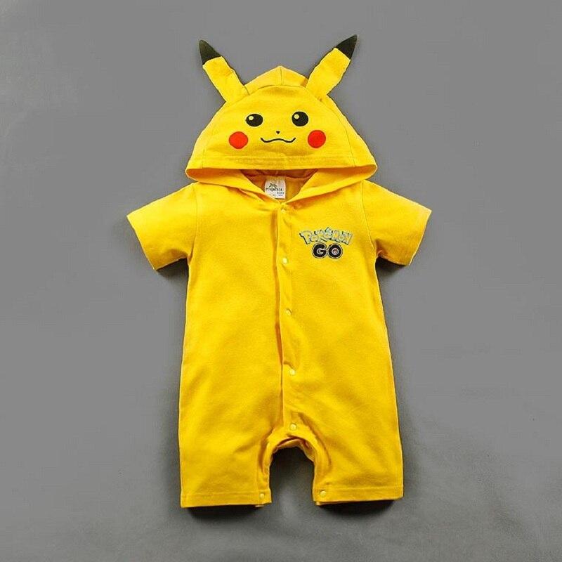 Newborn Baby Romper Pikachu Hoodie Pokemon Shirt Costume Baby Boy Girl Clothes Summer Children Rompers Jumpsuit 6 12 24 Months ...
