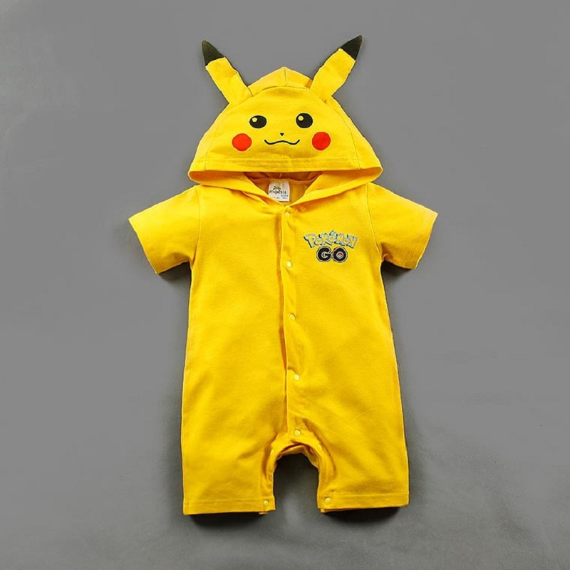 Newborn Baby Romper Pikachu Hoodie Pokemon Shirt Costume Baby Boy Girl Clothes Summer Children Rompers Jumpsuit <font><b>6</b></font> <font><b>12</b></font> <font><b>24</b></font> Months image