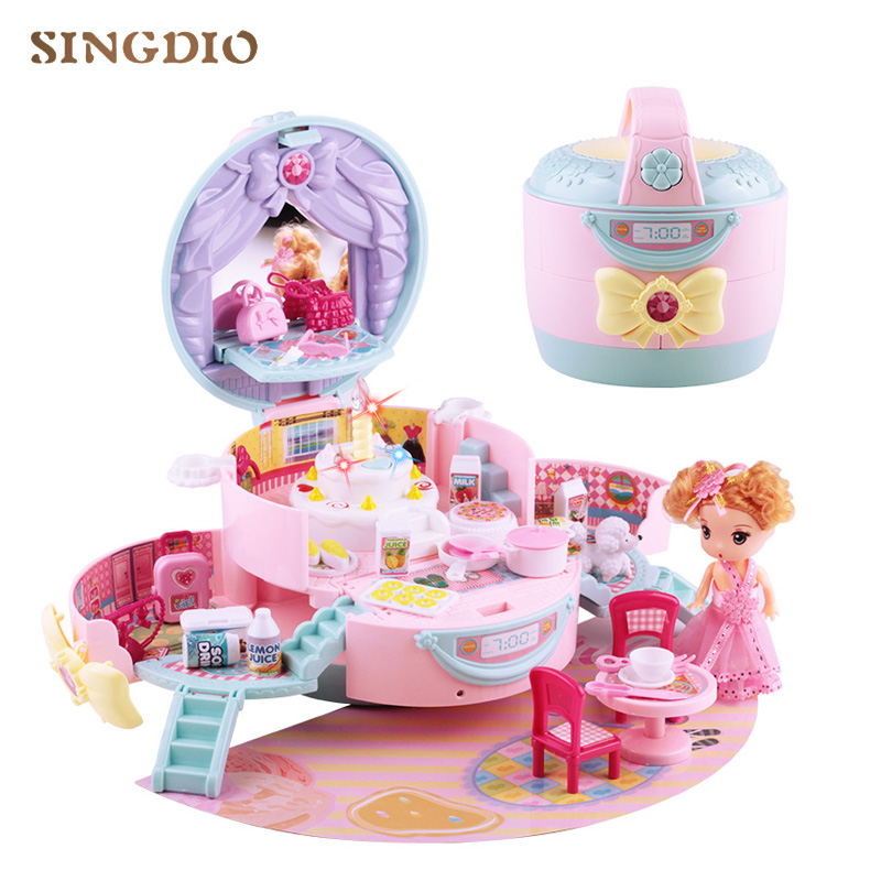 Diy dream baby doll home cute house music plastic mini room furniture miniature dollhouse  for toys doll kids girls children