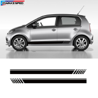 For Skoda Citigo Racing Lattice Side Skirt Strips Car Body Customized Sticker Fit On 3 5 Door Exterior Accessories