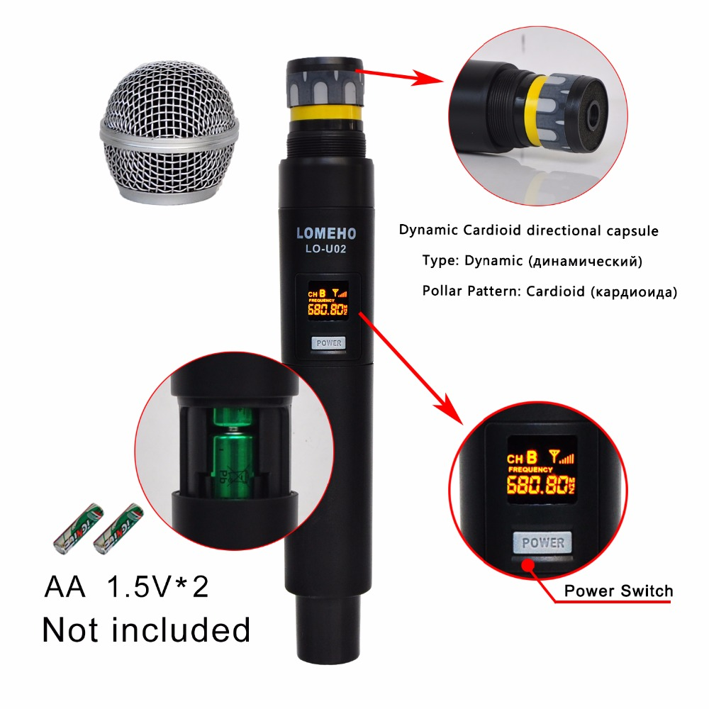 Lomeho LO U02 2 Handheld UHF Frequencies Dynamic Capsule 2 channels Wireless Microphone for Karaoke System in Microphones from Consumer Electronics