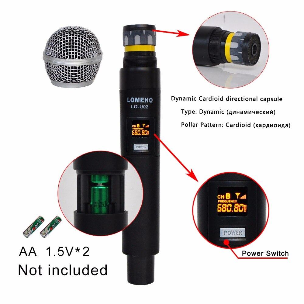 Lomeho LO-U02 2 fréquences UHF portables Capsule dynamique 2 canaux Microphone sans fil pour système karaoké - 4