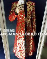 S 5xl 2020 New Men Clothing Fashion Gd Totem Embroidery Long Umbrella Type Jacket Performance Coat Singer Windbreaker Costumes