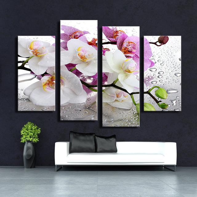 4PCS white Orchid Wall painting print on canvas for home decor ...
